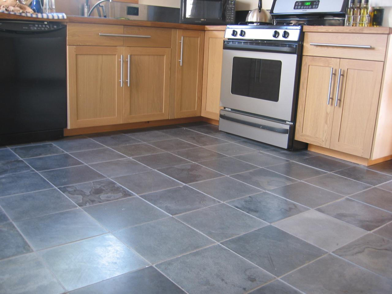 Slate art of tuscany for Dark tile kitchen floor