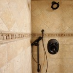 MOdern Style Black Shower Faucets Travertine Tile Wall Design