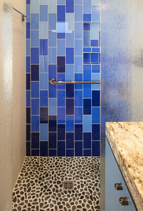 Blue Glass Cascading Tile Shower
